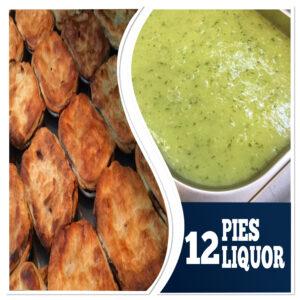 12 Pies, 12 Mash, 12 Liquor(60 ounces) (6 pots)